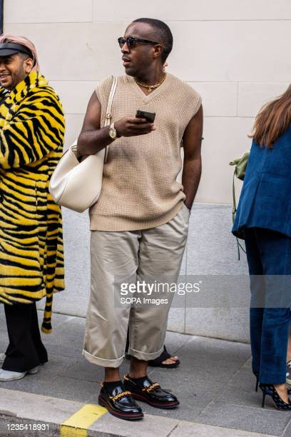 Fashion Editor Chido Obasi attends Richard Quinn Fashion Show at the Londoner Hotel during the London Fashion Week day 5.