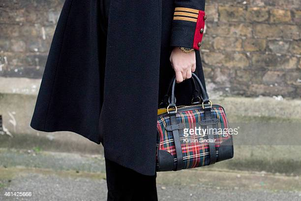 Fashion Editor for the Rake Sarah Ann Murray wearing Ralph Lauren Polo bag Ralph Lauren coat Bespoke shirt and shorts and a Suits Supply Tie on day 3...