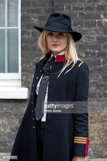 Fashion Editor for the Rake Sarah Ann Murray wearing Ralph Lauren coat Bespoke shirt and shorts Vintage hat and a Suits Supply Tie on day 3 of London...