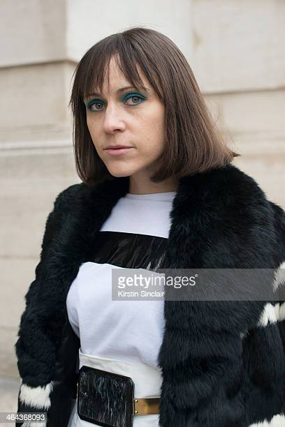 Fashion Editor for The Reality show Tiffany Godoy wears a vintage jacket and Toga skirt top and belt day 2 of Paris Haute Couture Fashion Week...