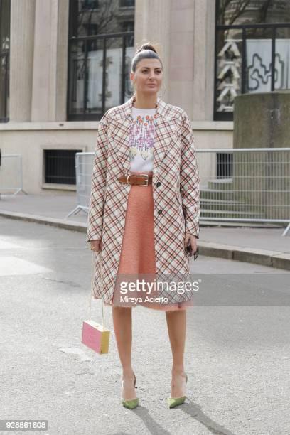 Fashion editor Giovanna Battaglia seen at the Miu Miu fashion show during Paris Fashion Week Womenswear Fall/Winter 2018/2019 on March 6 2018 in...
