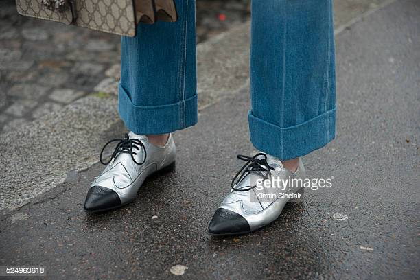 Fashion Editor Juliet Belkin wears Chanel shoes on day 7 during Paris Fashion Week Autumn/Winter 2016/17 on March 7 2016 in Paris France Juliet Belkin