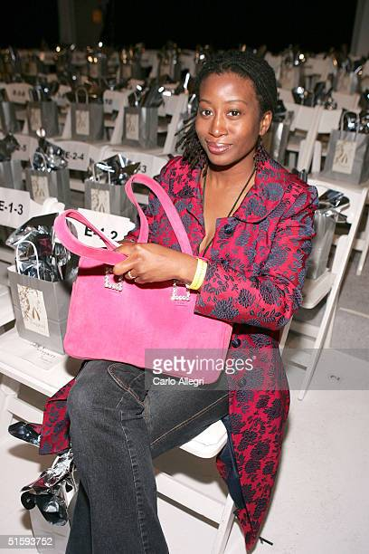 Fashion Editor Karen Brailsford Front row at the Shakti Spring 2005 show at the MercedesBenz Fashion Week at Smashbox Studios October 27 2004 Culver...