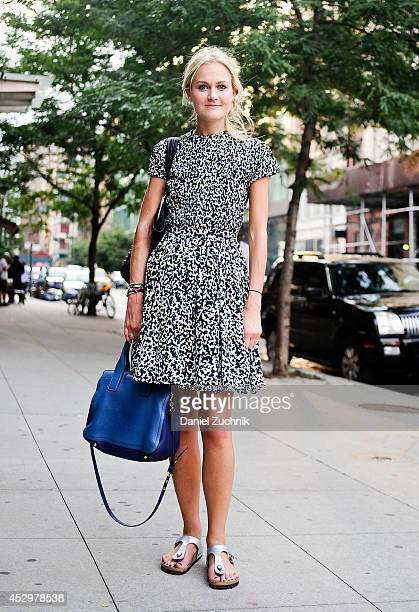 Fashion Editor Mary Kate Steinmiller is seen around Noho wearing a Proenza Schouler dress Miu Miu bag and Birkenstock shoes on July 31 2014 in New...