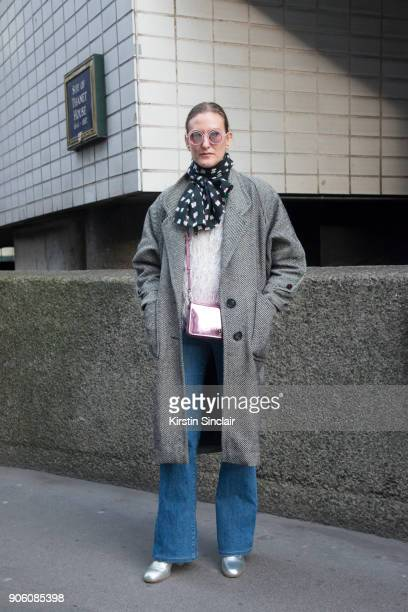 Fashion editor Odessa Paloma Parker wears Chanel sunglasses vintage jacket and sweater Coach bag Gap jeans Cos scarf and L'F shoes day 1 of London...