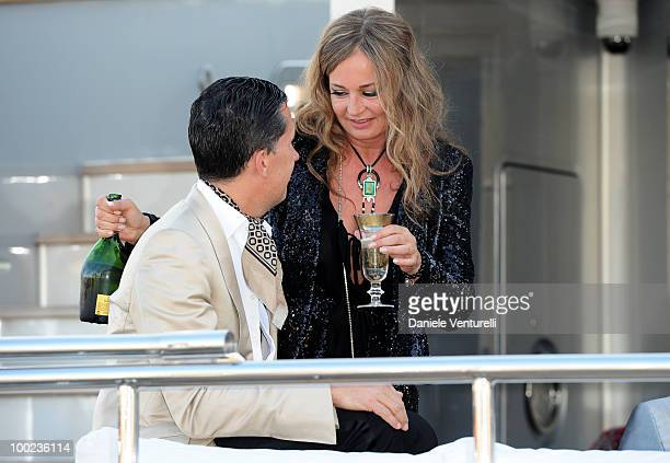 Fashion editor Stefano Tonchi and Eva Cavalli depart for Naomi Campbell's birthday party during the 63rd Annual International Cannes Film Festival on...