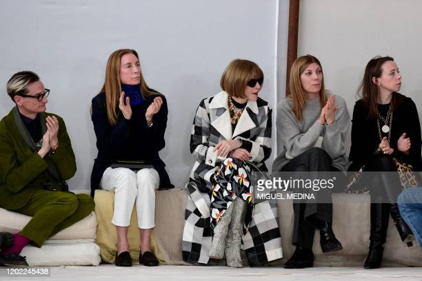 Fashion editors Anna Wintour and Hamish Bowles L) attend the presentation of Marni's Women Fall - Winter 2020 fashion collection on February 21, 2020...