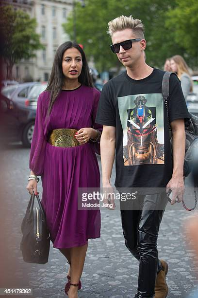 Fashion Editors Stylists Nausheen Shah and Kyle Anderson after Armani Privee on Day 3 of Paris Haute Couture Fashion Week Autumn/Winter 2014 on July...