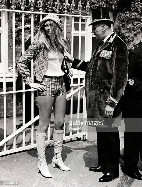 Fashion England 15th June 1971 A young lady wearing 'hot pants' is prevented from entering the Royal enclosure at Ascot
