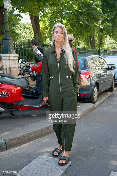 Fashion Features Director at British Vogue Sarah Harris wears a Green jumpsuit on day 3 of Paris Haute Couture Fashion Week Autumn/Winter 2016 on...