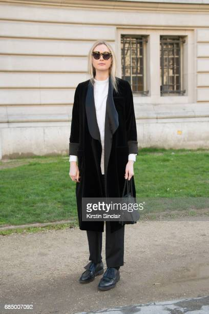 Fashion features editor at Matches Jane McFarland wears a Racil jacket and a 1205 shirt on day 3 during Paris Fashion Week Autumn/Winter 2017/18 on...