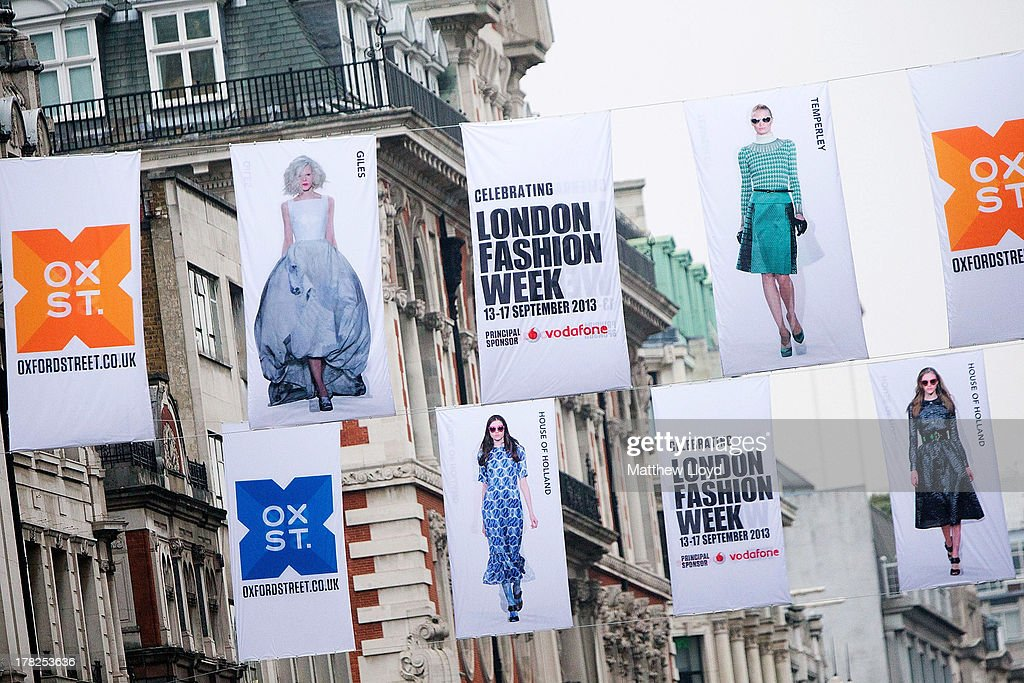 75 fashion flags are unveiled to launch OXFORD STREET FASHION SHOWCASE, in celebration of London Fashion Week on August 28, 2013 in London, England. The 12 foot high fashion flags, spanning over a mile of Oxford Street, feature A/W 13 catwalk shots from House of Holland, Matthew Williamson, Topshop Unique, Giles Deacon and Temperley London.