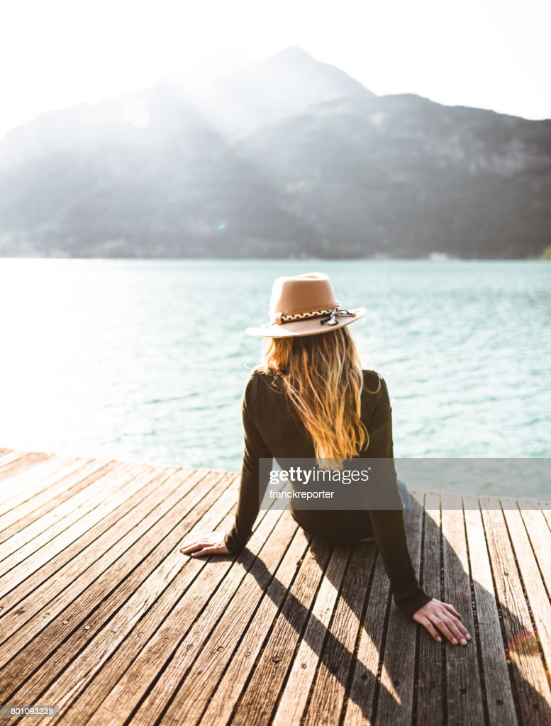 fashion folk woman on the jetty : Stock Photo