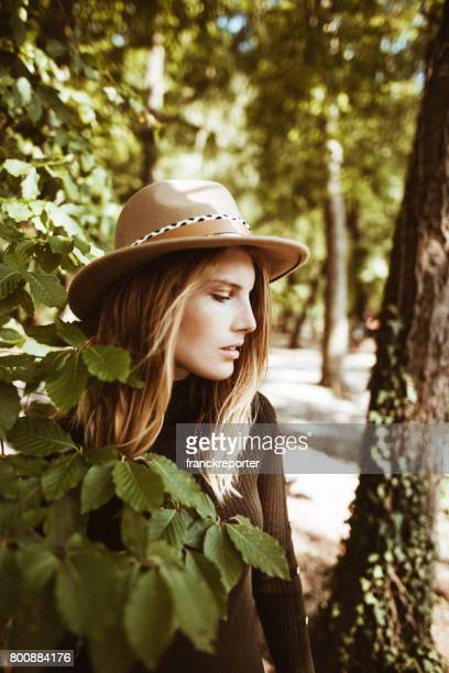 fashion folk woman portrait in the nature