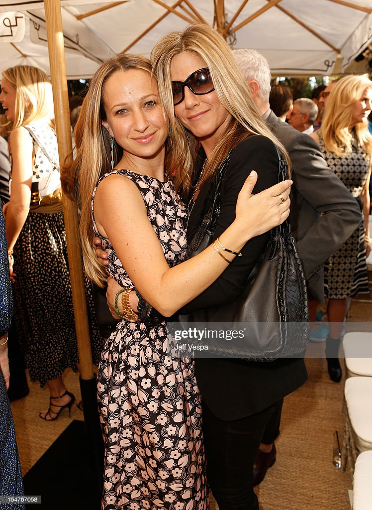 Fashion Fund Finalist Jennifer Meyer and actress Jennifer Aniston attend CFDA/Vogue Fashion Fund Event hosted by Lisa Love and Mark Holgate and sponsored by Audi, Beauty.com, American Express, and J Brand at Chateau Marmont on October 25, 2012 in Los Angeles, California.