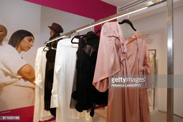 Fashion garments on display at Phoebe English at the NEWGEN PopUp Showroom during London Fashion Week Men's June 2018 at the BFC Designer Showrooms...