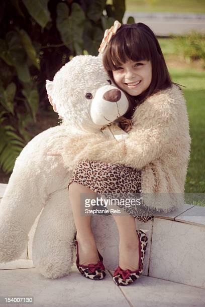 Fashion girl and teddy bear