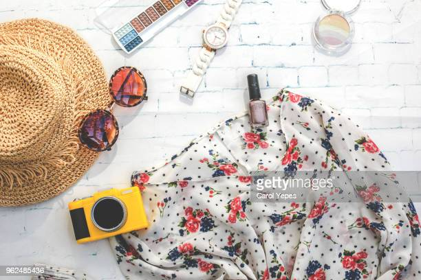 fashion girl clothes accessories set woman essentials.overhead - fashions hats and handbags stock pictures, royalty-free photos & images