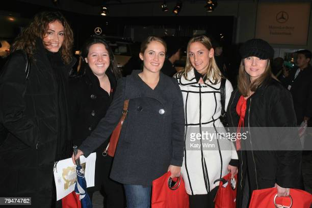 Fashion goers Andrea Schmit Morgan Wilson Melissa Cobb Melissa Stanowitz and Kelly Schaeffer at the fashion tents in Bryant Park during MercedesBenz...