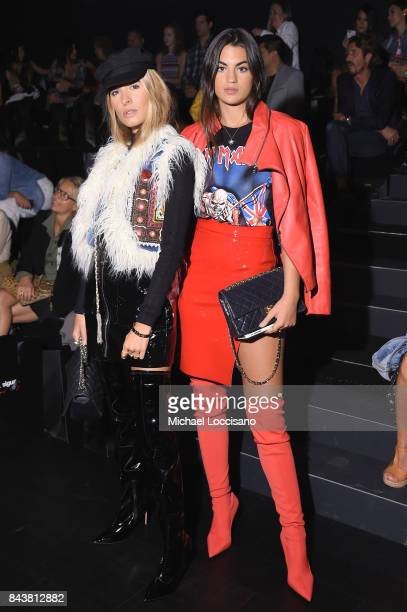 Fashion goers wearing Desigual pose at Desigual fashion show during New York Fashion Week The Shows at Gallery 1 Skylight Clarkson Sq on September 7...
