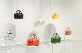 Fashion handbags in a shop window
