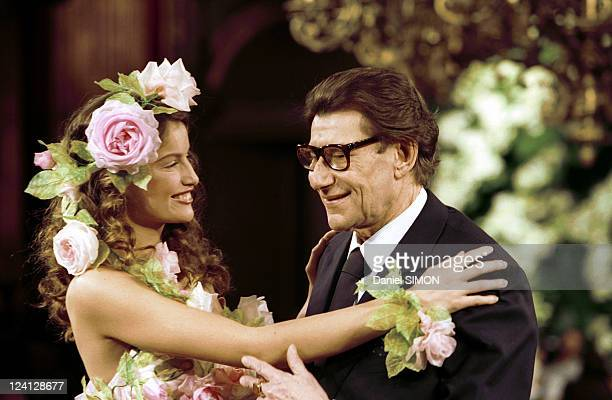 Fashion Haute Couture Spring Summer 1999 In Paris France In January 1999 Yves Saint Laurent and Laetitia Casta