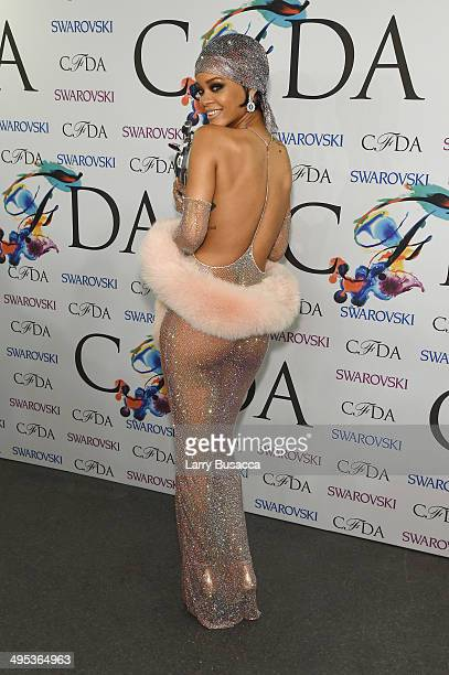 Fashion Icon award recipient Rihanna attends the winners walk during the 2014 CFDA fashion awards at Alice Tully Hall Lincoln Center on June 2 2014...