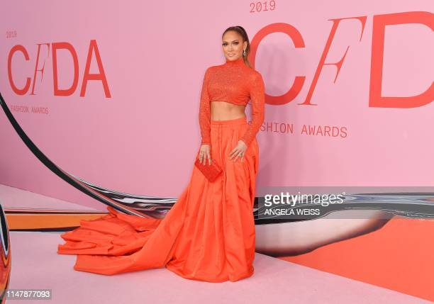 Fashion Icon Award recipient US singer Jennifer Lopez arrives for the 2019 CFDA fashion awards at the Brooklyn Museum in New York City on June 3,...