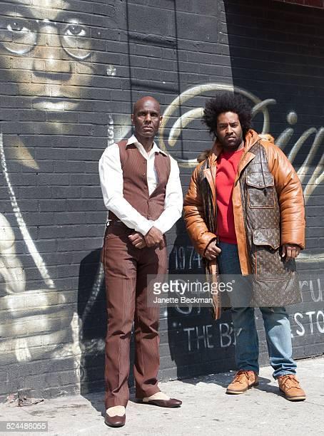 Fashion icon Dapper Dan with his son Jelani who is wearing a Dapper Dan coat in Harlem, New York City, 2014.