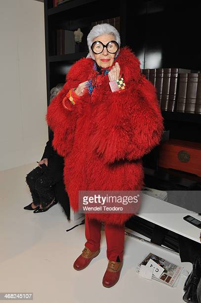 Fashion icon Iris Apfel attends the Ralph Rucci show during MercedesBenz Fashion Week Fall 2014 at 151 West 26th Street on February 9 2014 in the...