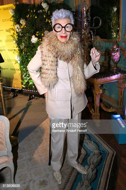 Fashion Icon Ms Iris Apfel attends the 'International Women's Day Luncheon in Support of Equality and Safety for All' hosted by Swarovski as part of...