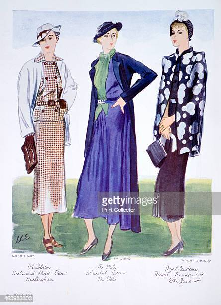 Fashion illustration 1935 Designs by Margaret Barry Eva Lutyens and WW RevilleTerry Ltd A print from Vogue 1st May 1935