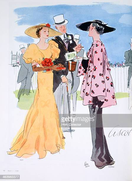 Fashion illustration, 1935. Women dressed up for Royal Ascot. A print from Vogue, 1st May 1935.