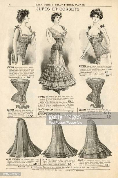 Fashion illustration from the winter catalogue for Parisian department store Aux Trois Quartier, showing a selection of ladies corsets and skirts,...