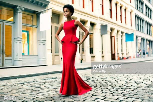 fashion in new york city - evening gown stock photos and pictures