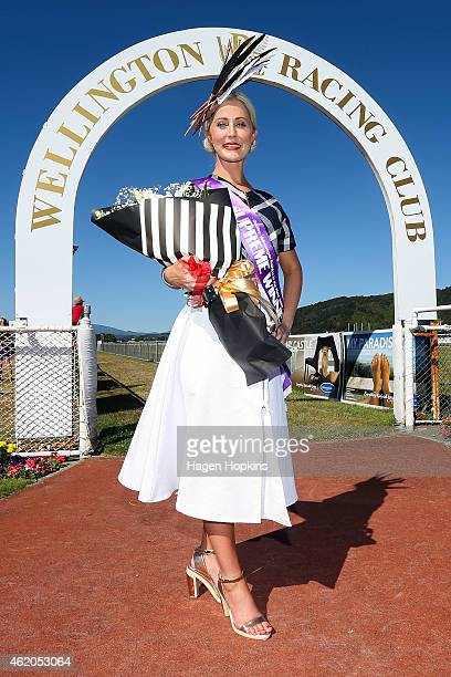 Fashion in the Field Supreme Winner Julie Barbour of Hamilton poses during Wellington Cup Day at Trentham Racecourse on January 24 2015 in Wellington...