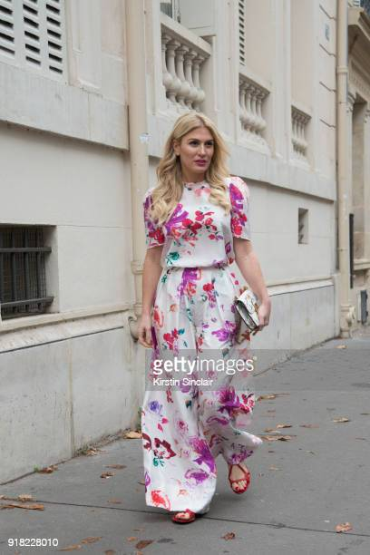 Fashion influencer and TV presenter Hofit Golan wears an Emanuel Ungaro jumpsuit and shoes and a Dior bag day 6 of Paris Womens Fashion Week...