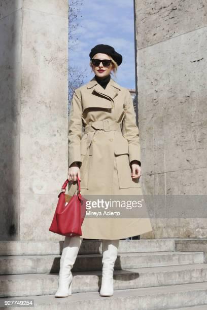 Fashion influencer Caroline Daur seen during Paris Fashion Week Womenswear Fall/Winter 2018/2019 on March 5 2018 in Paris France