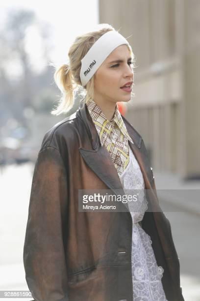 Fashion influencer Caroline Daur seen wearing Miu Miu at the Miu Miu fashion show during Paris Fashion Week Womenswear Fall/Winter 2018/2019 on March...