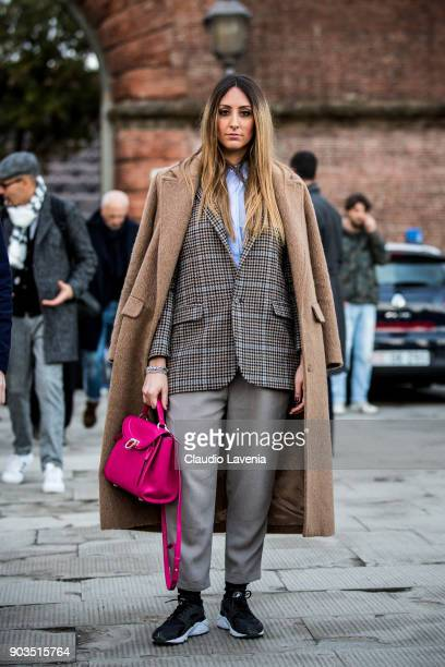 Fashion influencer Elisa Taviti is seen during the 93 Pitti Immagine Uomo at Fortezza Da Basso on January 10 2018 in Florence Italy