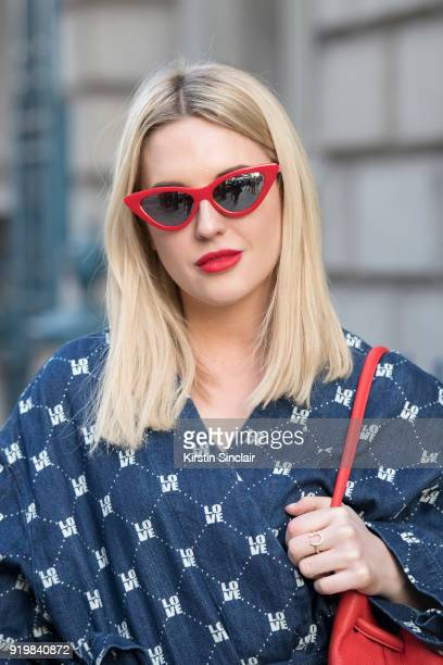 Fashion influencer Emily Hart Valentine wears an HM top and Bershka sunglasses on day one of London Womens Fashion Week Autumn/Winter 2018 on...