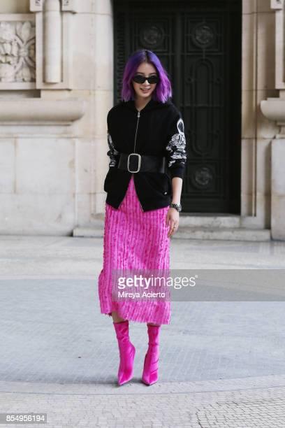 Fashion influencer Irene Kim seen during Paris Fashion Week Womenswear Spring/Summer 2018 on September 27 2017 in Paris France