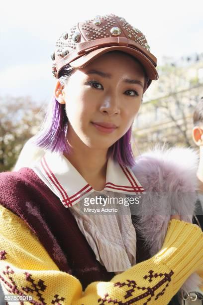 Fashion influencer Irene Kim seen during Paris Fashion Week Womenswear Spring/Summer 2018 on October 3 2017 in Paris France