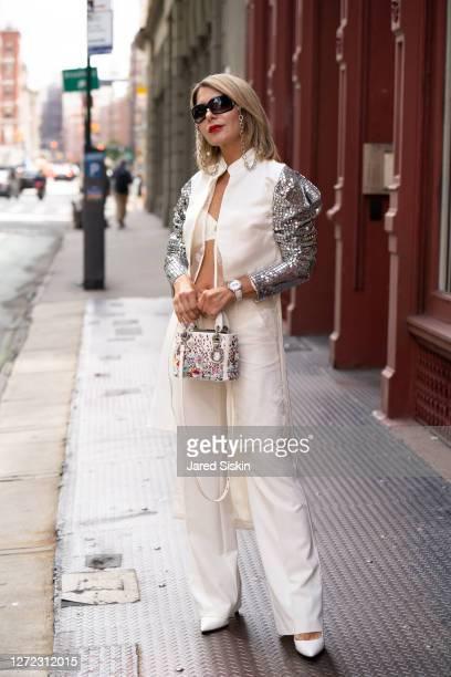 Fashion influencer Olga Ferrara is seen in Soho on September 13, 2020 in New York City.