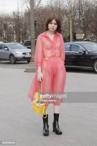 Fashion influencer Reese Blutstein seen wearing Chanel at the Chanel fashion show during Paris Fashion Week Womenswear Fall/Winter 2018/2019 on March...