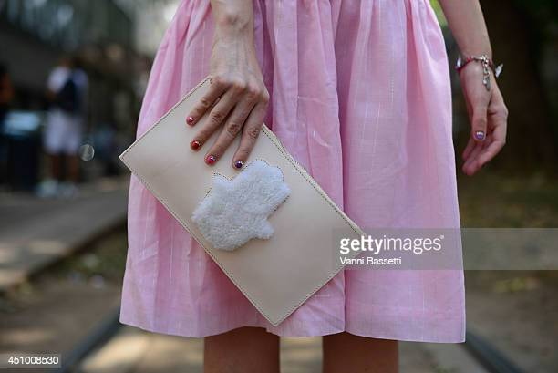 Fashion influencer Samantha De Reviziis is seen wearing a vintage outfit and a Manouche purse after Dolce e Gabbana show on June 21 2014 in Milan...