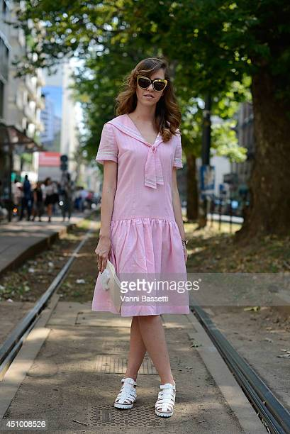 Fashion influencer Samantha De Reviziis is seen wearing a vintage outfit after Dolce e Gabbana show on June 21 2014 in Milan Italy