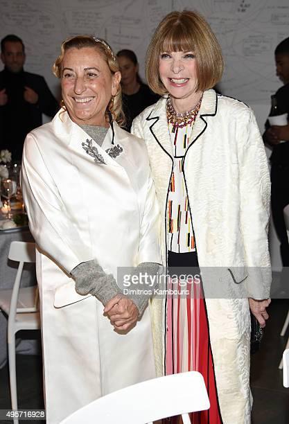 Fashion Innovator Miuccia Prada and Vogue Editorinchief and Conde Nast Artistic Director Anna Wintour attend the WSJ Magazine 2015 Innovator Awards...
