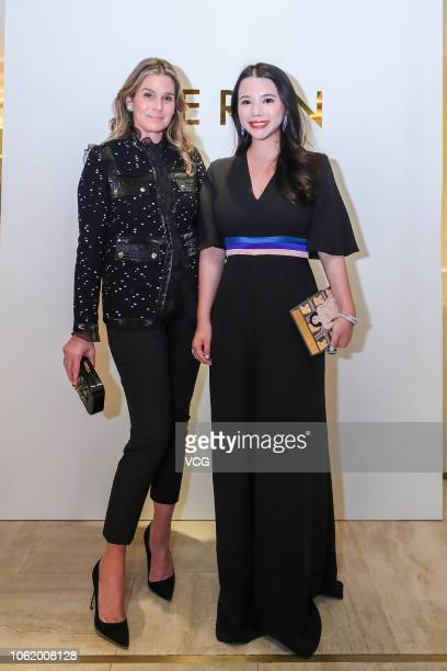 Fashion investor Wendy Yu and Estee Lauder Company's Creative Director Aerin Lauder pose for a photo during a roundtable forum on October 31 2018 in...