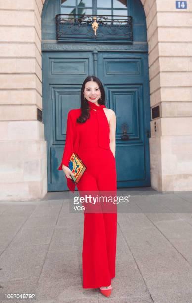 Fashion investor Wendy Yu arrives at Valentino fashion show during Paris Fashion Week Womenswear Spring/Summer 2019 on September 30 2018 in Paris...